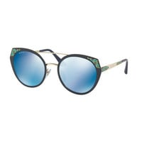 BVLGARI Serpenti Round Mitered Metal Sunglasses, Blue