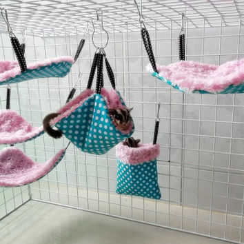 SWEETY PINK  Cute 6pc Sugar Glider-Rat (small animal) Hanging Cage Bag Set washable