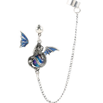 Blackheart Blue Glitter Dragon Ear Cuff & Stud