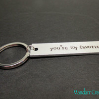 You're My Favorite, Hand Stamped Keychain for Couples or Best Friends, Aluminum Key Chain, Newsprint Font, Anniversary Gift