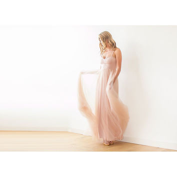 Blush pink maxi ballerina tulle dress