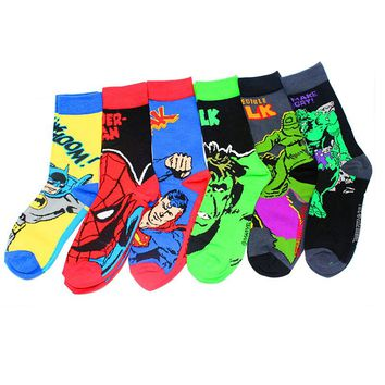 MARVEL DC Socks Hero IronMAN BatMan SuperMan Green Lantern SpiderMan Flash Captain America Avengers Thor Hulk Wonder Woman