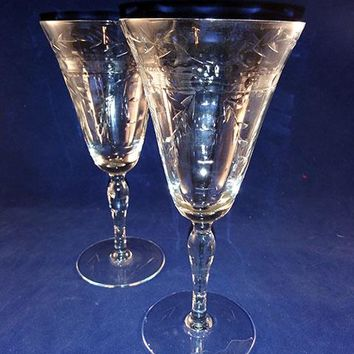 Wheel Cut Crystal Wine Glasses  S/2