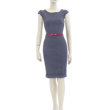 Cap Sleeve Black Checkered Knee Length Dress Size S-XL PY8655