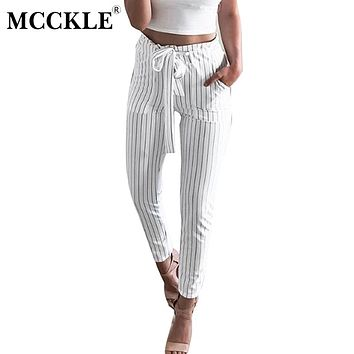 MCCKLE 2018New Striped OL Chiffon High Waist Harem Pants Women Bowtie Elastic Waist Trousers Female Stringyselvedge Casual Pants