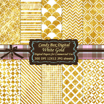 White and Gold Digital Paper, Digital Scrapbook, White and Gold paper, white and gold scrapbook paper, geometric - Commercial Use OK