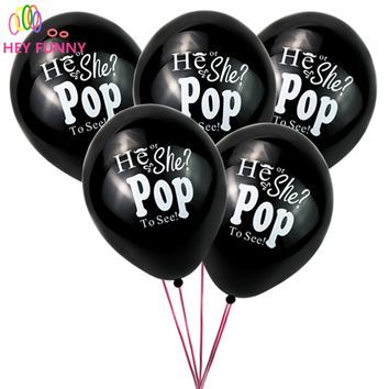 HEY FUNNY 20pcs 10 inch  Giant Gender Reveal Confetti Latex Balloon He or she pop to see helium balloons for Baby Party
