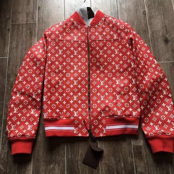 One-nice™ Louis Vuitton x Supreme Red Leather Monogram Logo Blouson Jacket Size 48 LV New