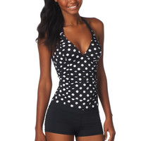 Dot Print Ruched Tankini Top