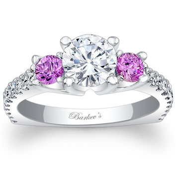 Barkev's Pink Sapphire Three Stone Diamond Engagement Ring