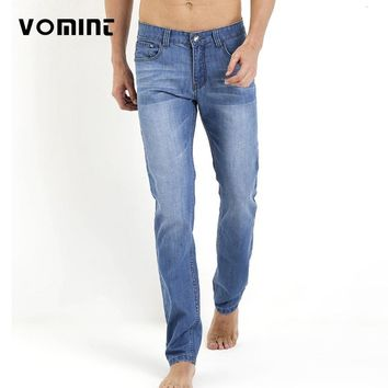 VOMINT 2017 Promotion Autumn Men's Jeans Thin Slim Straight Loose Mid Waist Male Long Pants Washing classic Denim Style man jean