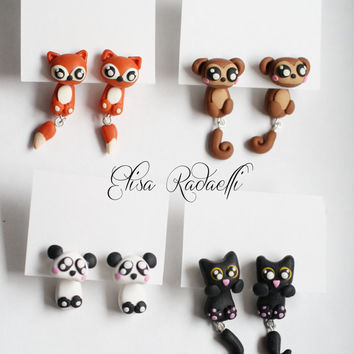 panda two part earrings - polymer clay