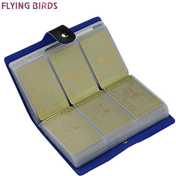 FLYING BIRDS! Card Holder brand High Quality women&men card bags name ID Business Leather 156 Bank credit Card Case LS8916fb