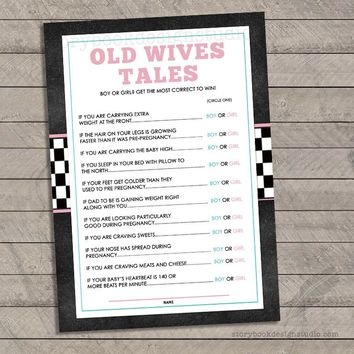 Wheels or Heels Gender Reveal Old Wives Tales Game