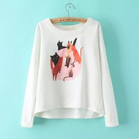 Cat Print Long-Sleeve Pullover Shirt