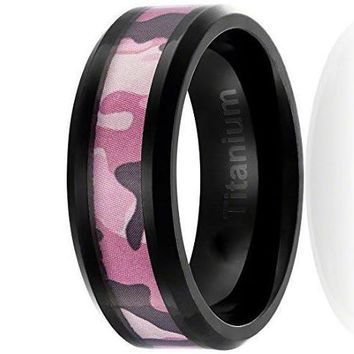 8MM Titanium Camo Ring Black Plated Wedding Band with Pink Camouflage Inlay