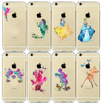 Cartoon Watercolor Soft TPU Silicone Case for capinhas iphone 7 plus 6 6s 6plus 5 5s SE Mickey Mouse Phone Cases Snow white Capa