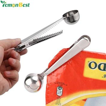 DCCKU7Q 1PC Bag Clips Food Clip Sealer Kitchen Tools Stainless Steel Ground Coffee Spoon Tea Measuring Scoop Bag Seal Clip Sealing Clamp
