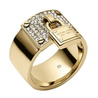 Michael Kors Motif Brilliance Golden Pave Crystal Padlock Ring - Si...