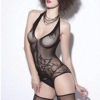 Black V-Neck Halter Sheer Bodystockings