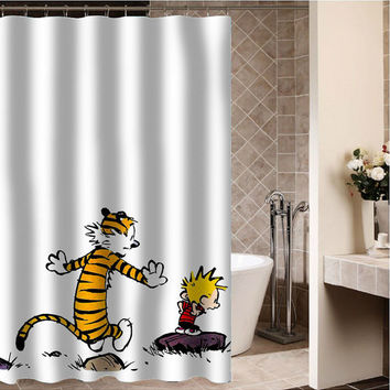 "Calvin and Hobbes Custom Shower curtain,Sizes available size 36""w x 72""h 48""w x 72""h 60""w x 72""h 66""w x 72""h"
