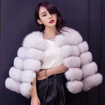 New 2018 Autumn Winter coat warm casacos femininos Faux fur vest outerwear womens FAUX fur coat Fake Fur Jacket Overcoat
