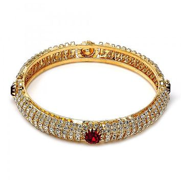 Gold Plated Individual Bangle, with Cubic Zirconia, Golden Tone