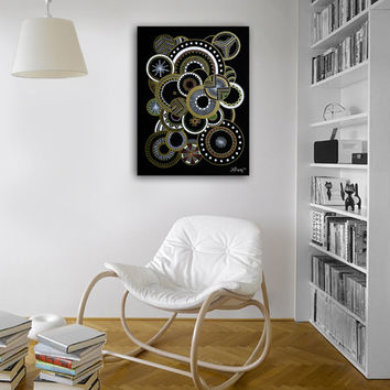 Original abstract painting on canvas. 18x24. Black painting with gold, white, pink, and yellow. Geometric circles.