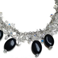 "Black Onyx Necklace with Swarovski and Vintage Crystals - 18"" - NCK054"