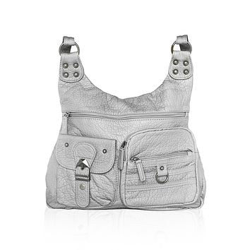 Washable Vegan Leather Series - Casual Messenger Bags - Silver