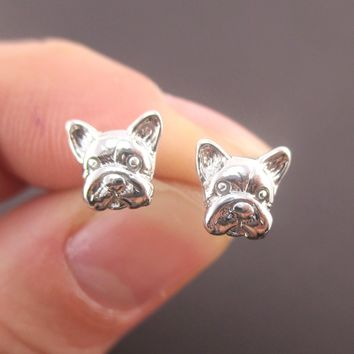 3D Tiny French Bulldog Puppy Dog Face Shaped Stud Earrings
