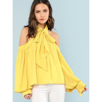 Open Shoulder Bow Tied Neck Blouse Yellow