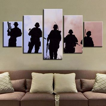 Army Military Soldiers Memorial Silhouette Wall Art 5 Panel Pieces Picture Print
