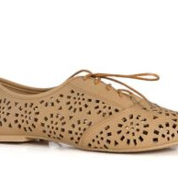 Charles Albert Laser Cut Oxford Shoes in Tan for Women NEW-11276-TAN