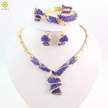 Fashion High Quality Nigerian Wedding African Beads Jewelry Sets Blue Crystal Dubai Gold Color Big Jewelry Sets Costume
