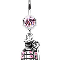 Hand Grenade Sparkle Belly Button Ring