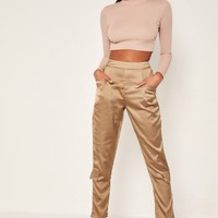 Missguided - Bronze Side Pocket Satin Cigarette Trousers