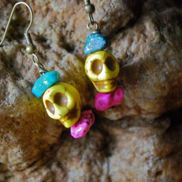 Yellow Skull Earrings
