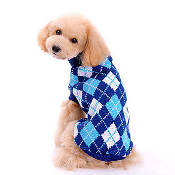 Pet Sweater Turtleneck Dog Sweater Clothing Argyle Pattern Blue Fast Shipping