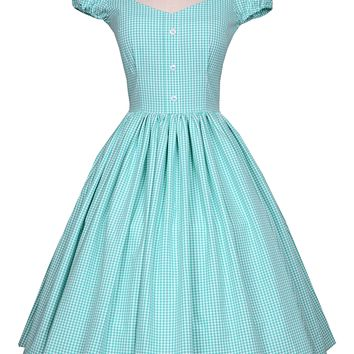 Heather Dress in Green Sea Foam Gingham
