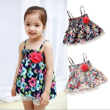 Princess Strap Tank Tutu Dress Floral Sundress Tops 1-4 Y Baby Girls&Kids