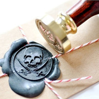 Pirate Skull Sword Gold Plated Wax Seal Stamp x 1