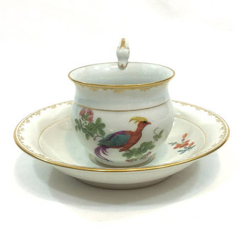 Meissen Swan Tea Cup & Saucer, Flowers and Bird of Paradise, Mimosa Tree, Gilded Lacy Floral Motif, 1815 1924, Antique China