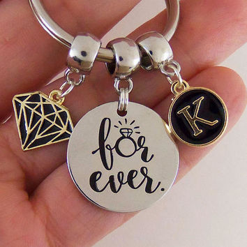 For ever keychain, forever key chain, engagement gift, wedding gift, couples gift, couples keychains, personalized stamped keychain, bridal
