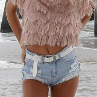Be Cool High Waisted Distressed Light Denim Shorts