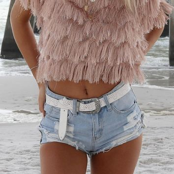Be Cool High Waisted Distressed Denim Shorts