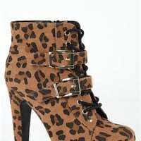 Cheetah Print Lace Up Platform Ankle Bootie