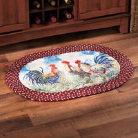 Country Rooster Kitchen Rug Braided Oval Accent Rug Rustic Home Decor New