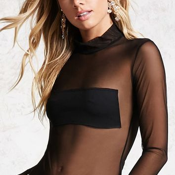 Mesh Mock Neck Top