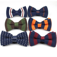 Men Neck Ties Tuxedo Knitted Bowtie Bow Tie Thick Double Deck Pre Tied Adjustable Knitting Casual Ties